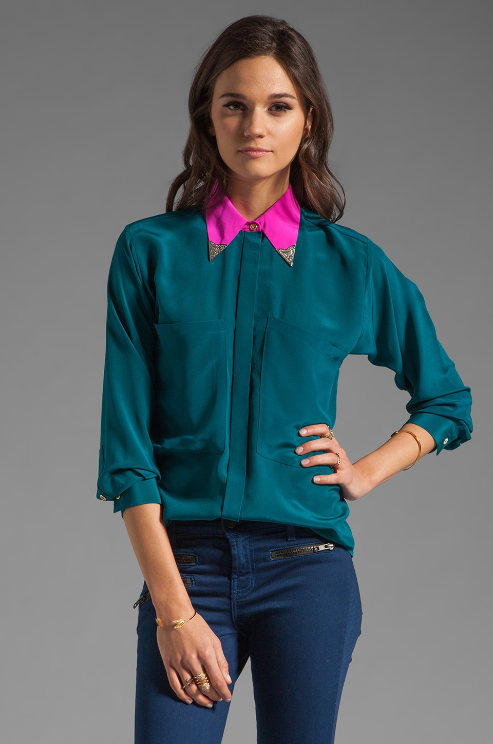 Naven 2 Tone Oversized Pocket Blouse with Collar Tips in Teal/Pop Pink