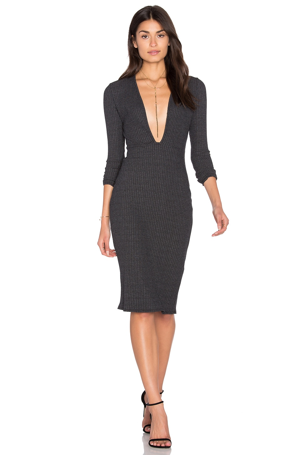 Long Sleeve Plunge Dress by NYTT