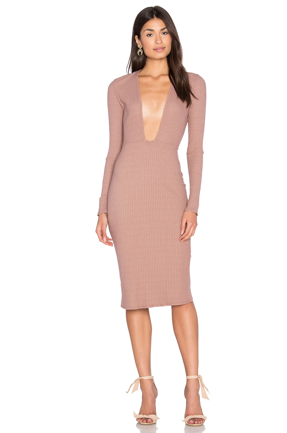 NYTT Long Sleeve Plunge Dress in Mauve
