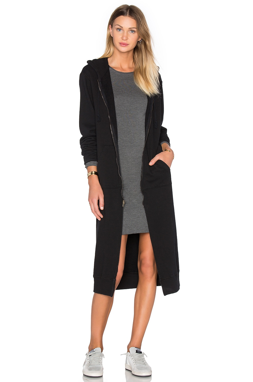 NYTT Long Hooded Jacket in Black