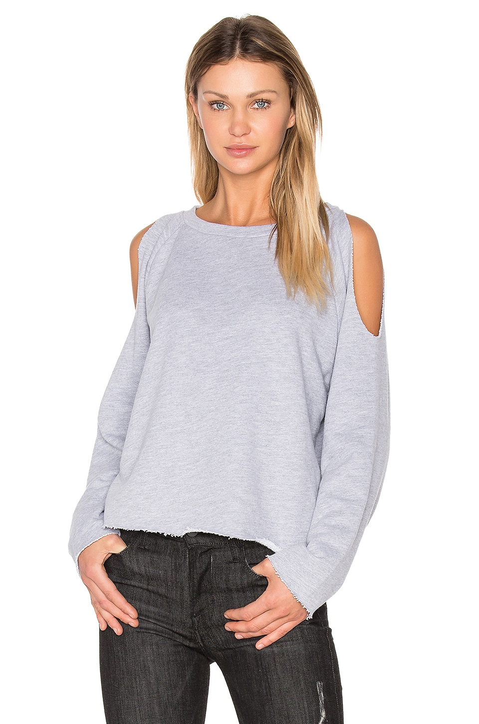 NYTT Cold Shoulder Sweatshirt in Heather Grey