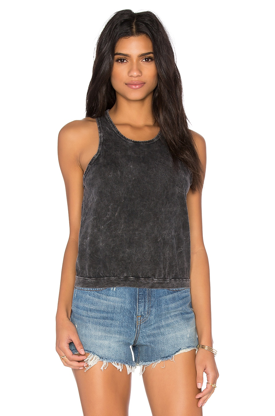 NYTT Nisha Crop Top in Black Mineral Wash