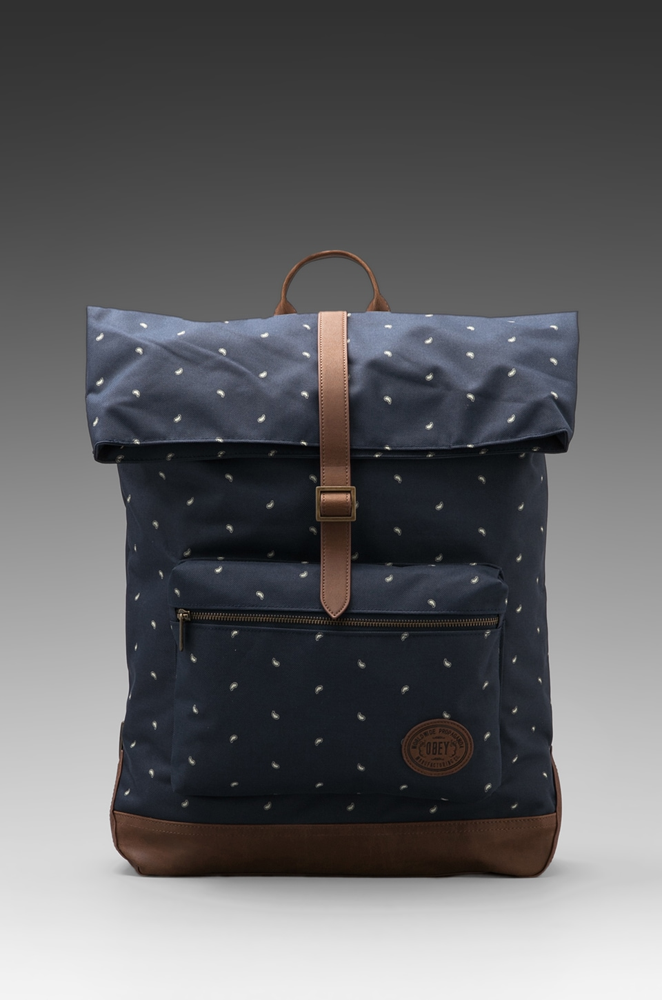 Obey Ballast Micro Paisley Print Roll Top Backpack in Dark Navy