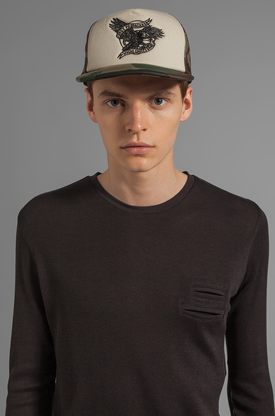 Obey Baldy Trucker Hat in Khaki/ Camo