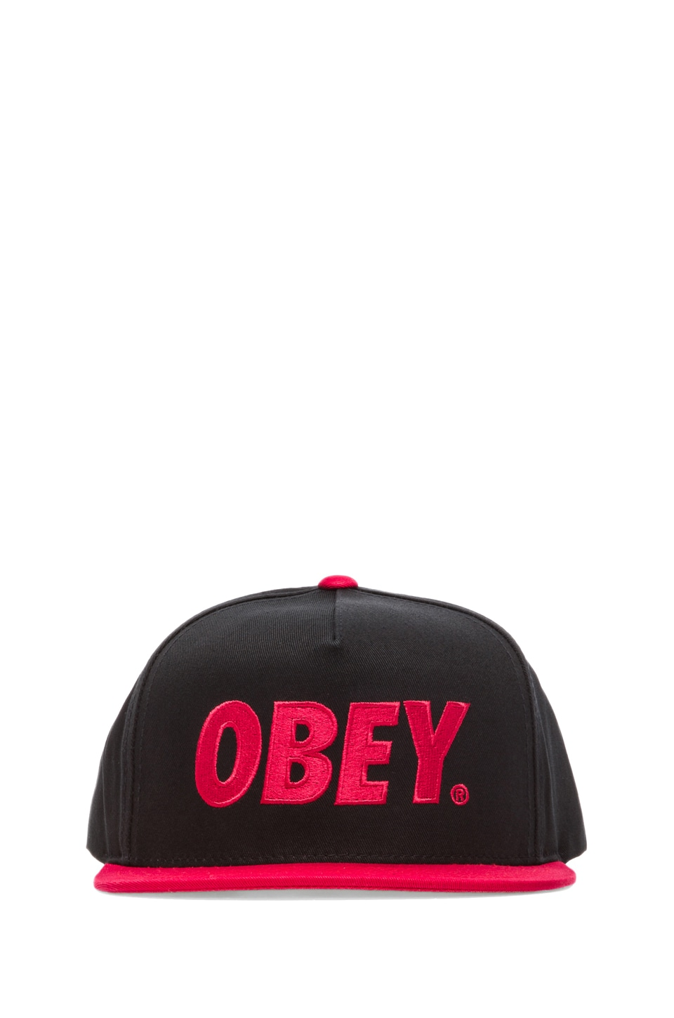 Obey The City Snapback in Black/Red