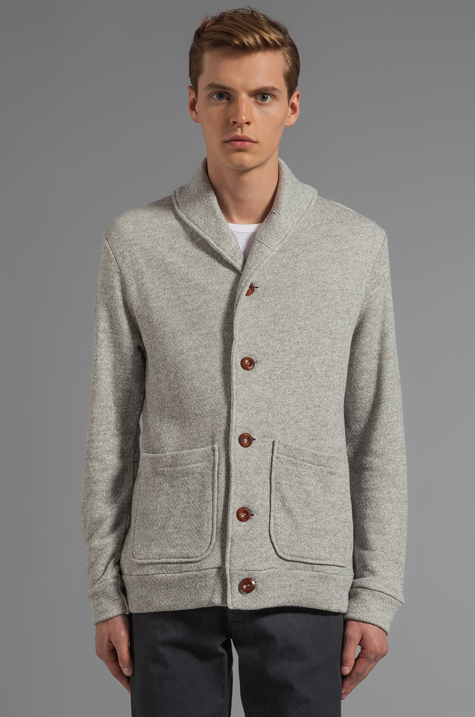 Obey Bowen Heavyweight Cardigan in Heather Grey
