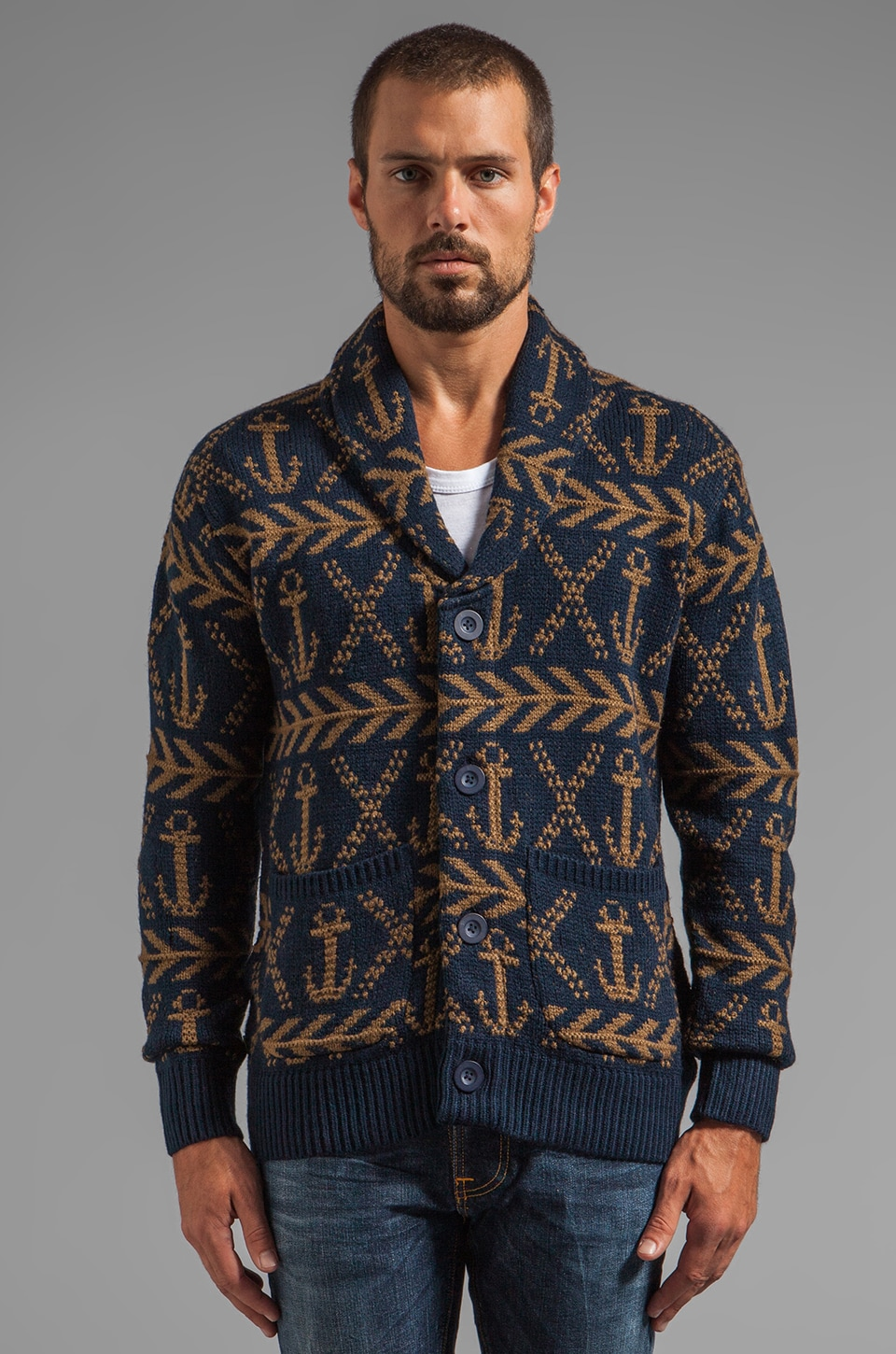 Obey Anchors Heavyweight Cardigan in Dark Navy
