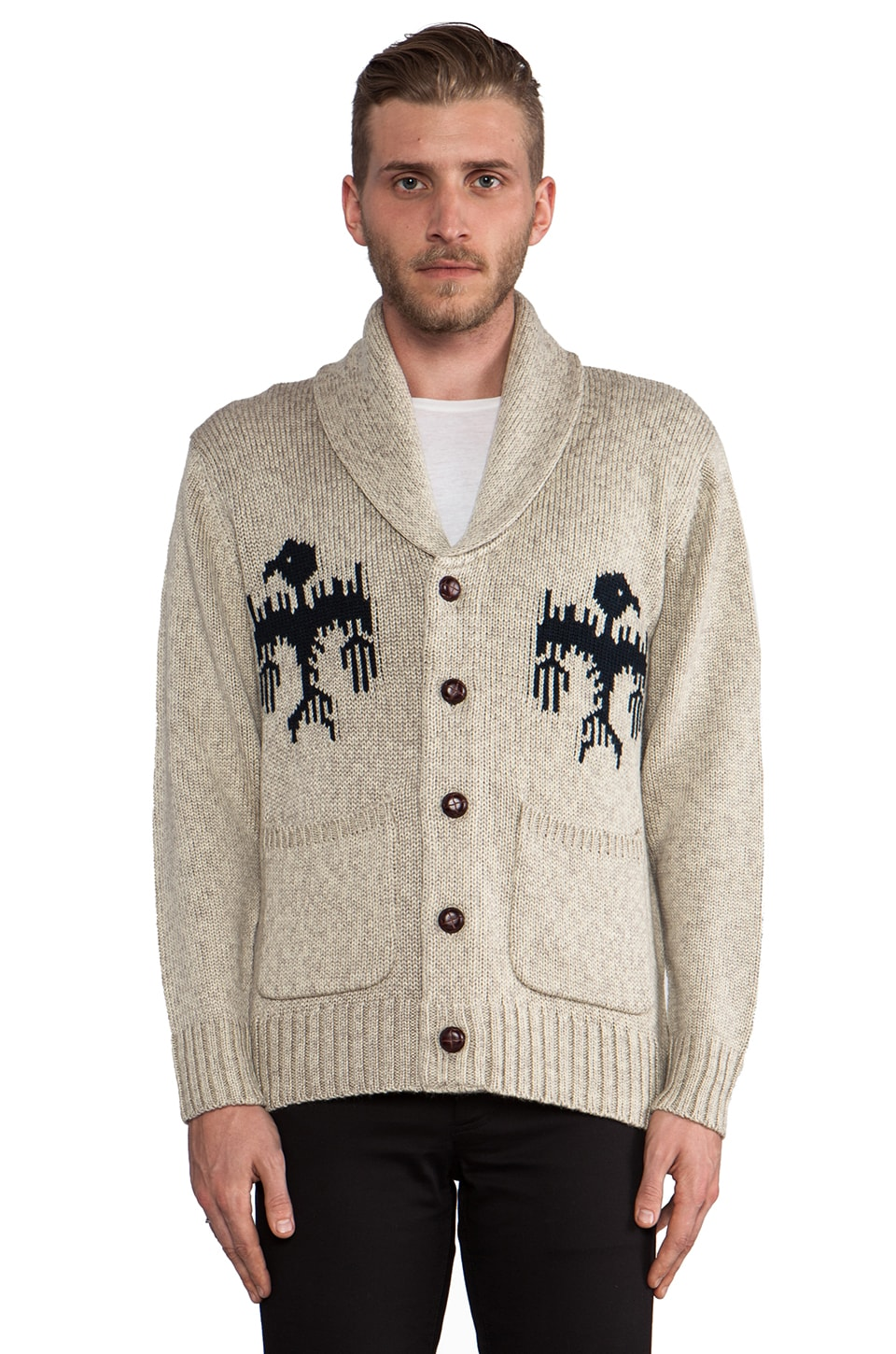 Obey Bird Cardigan in Heather Oatmeal
