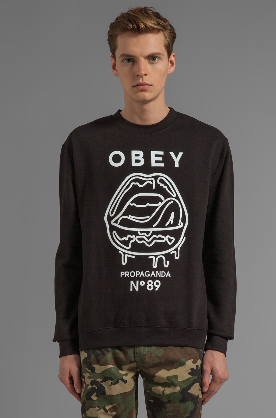 Obey Wet Lips Graphic Pullover Sweatshirt in Black