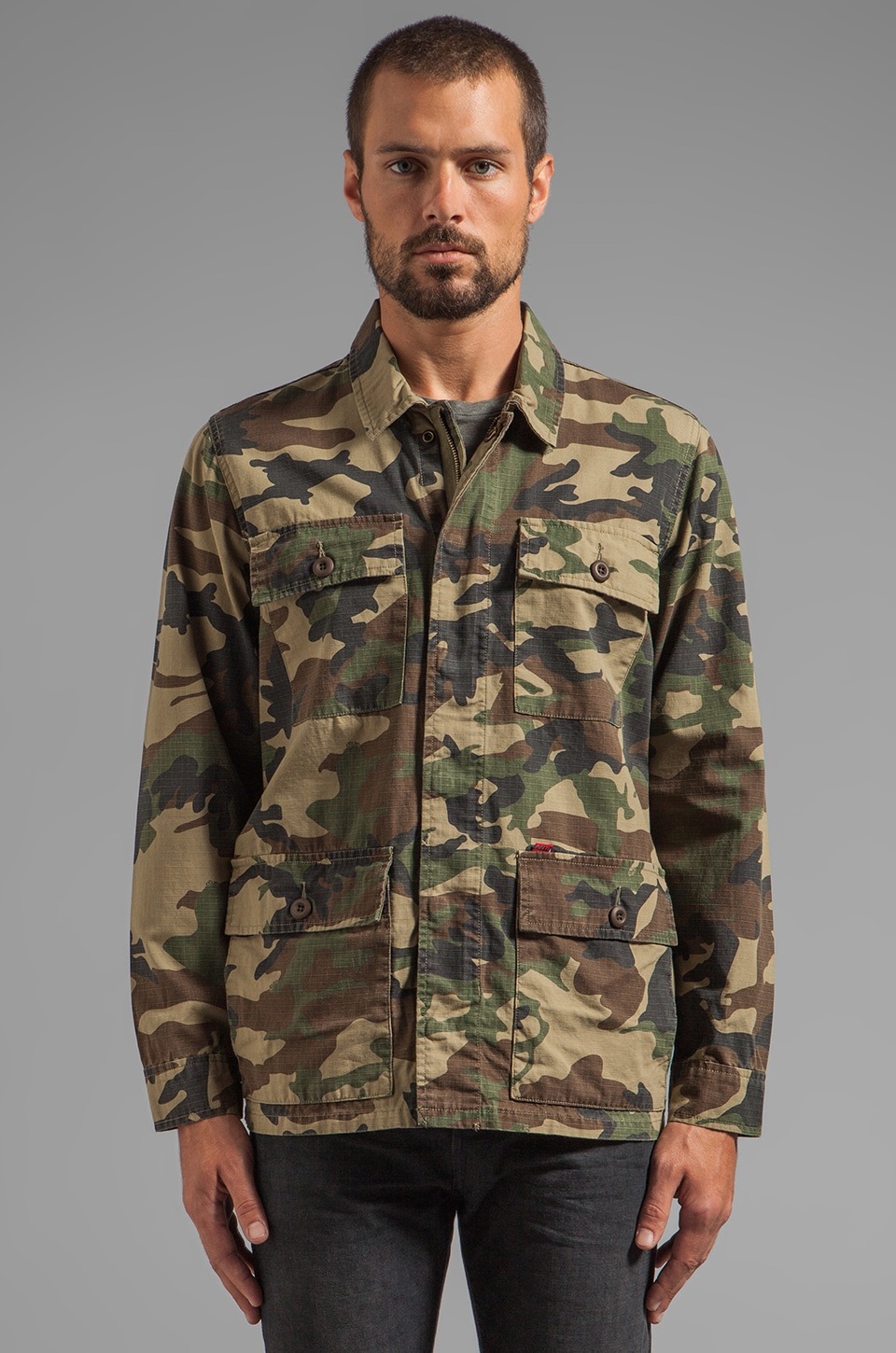 Obey Dissent BDU Inspired Jacket in Field Camo