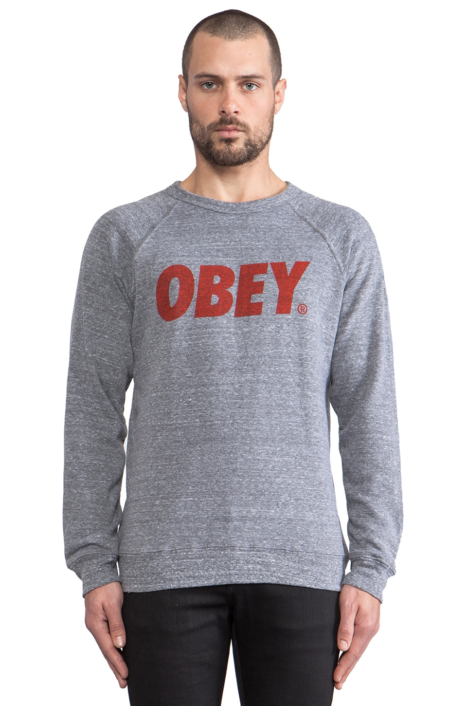 Obey Standard Issue Collection Pullover Sweatershirt en Gris Chiné