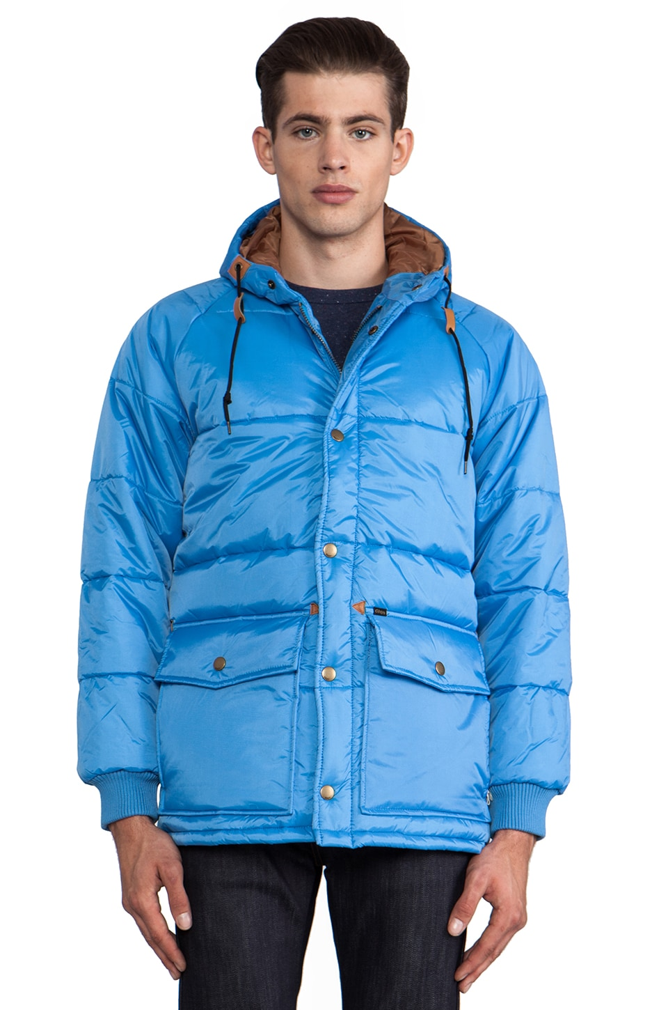 Obey Blizzard Puffer Jacket in Sky Blue