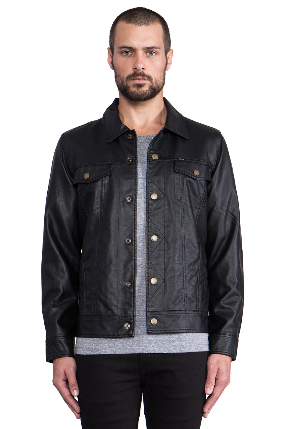 Obey Backstage Faux Leather Jacket in Black