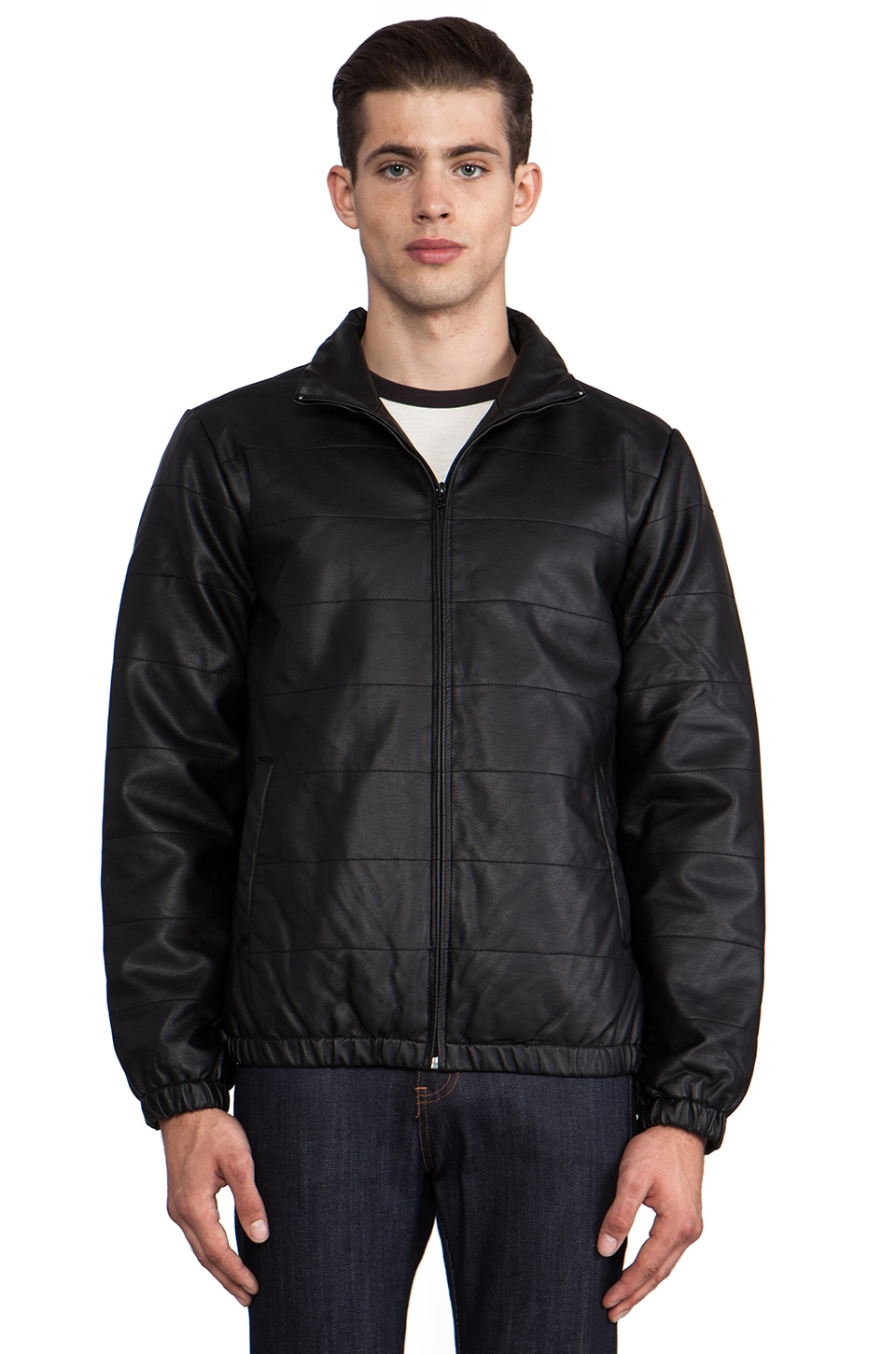 Obey Orchard Vegan Leather Jacket in Black