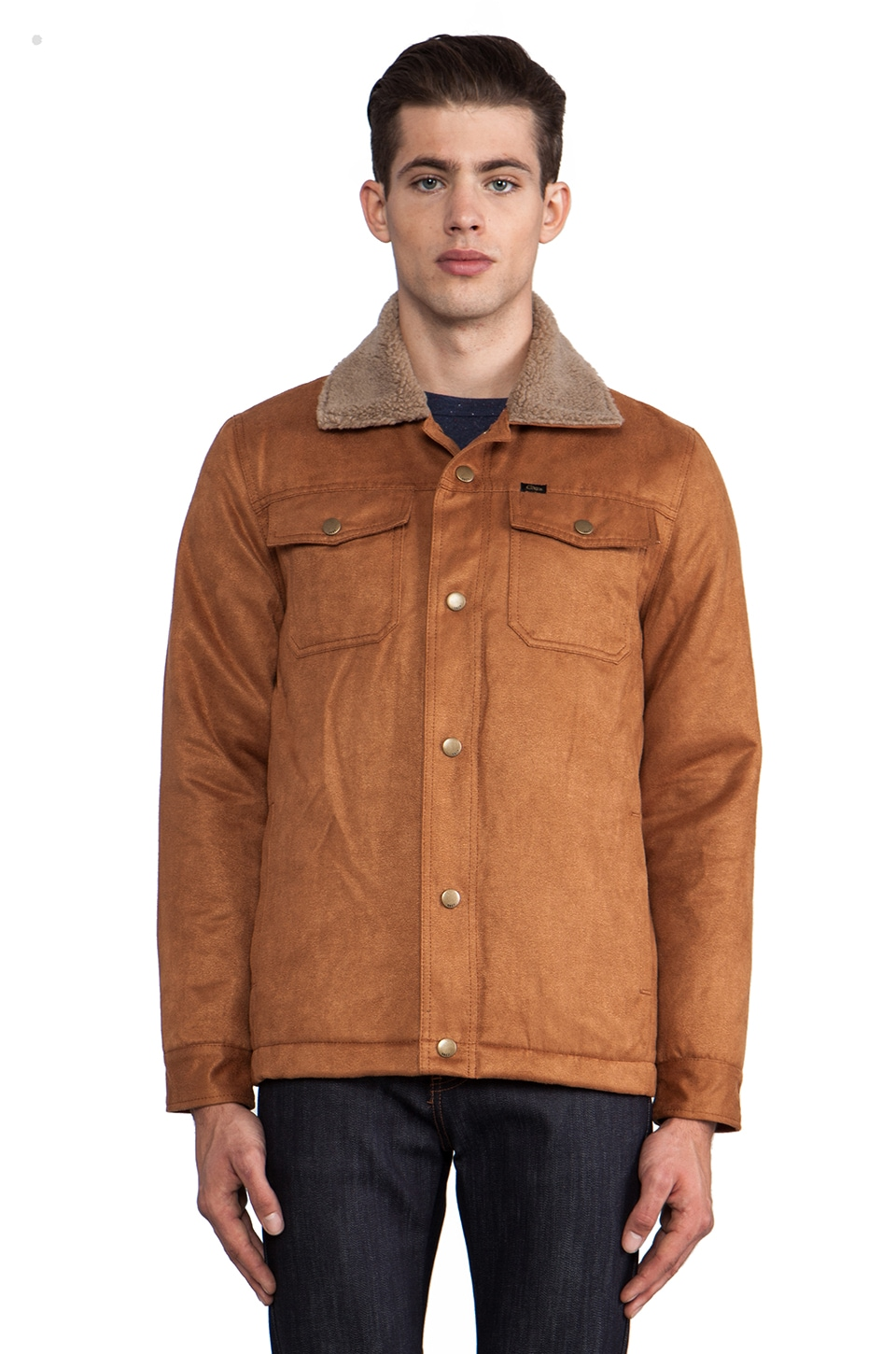 Obey Billy Jacket w/ Faux Shearling Trim in Caramel