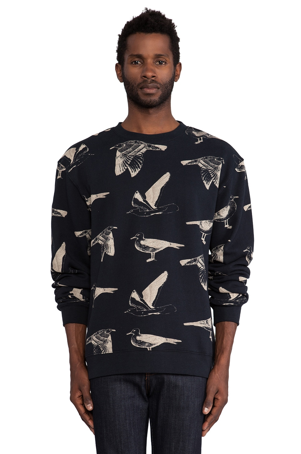 Obey Seagull Crew in Navy & Cream