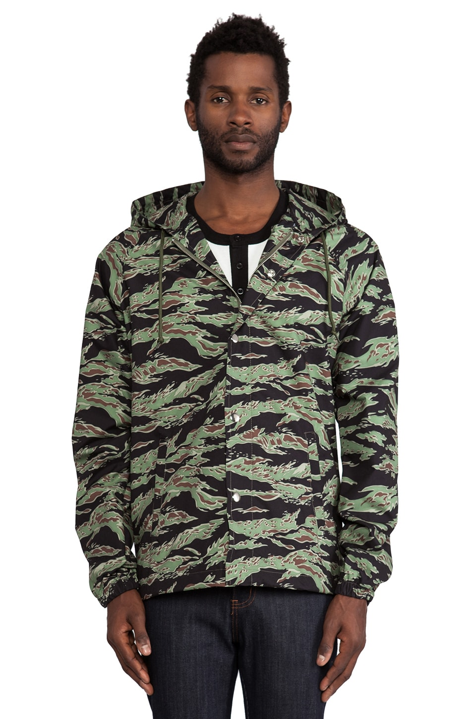 Obey Port Jacket in Tiger Camo