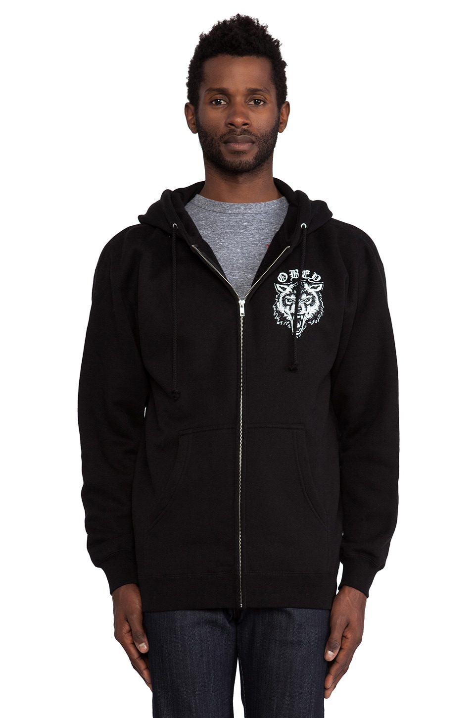 Obey Wolf Posse Zip Hoodie in Black
