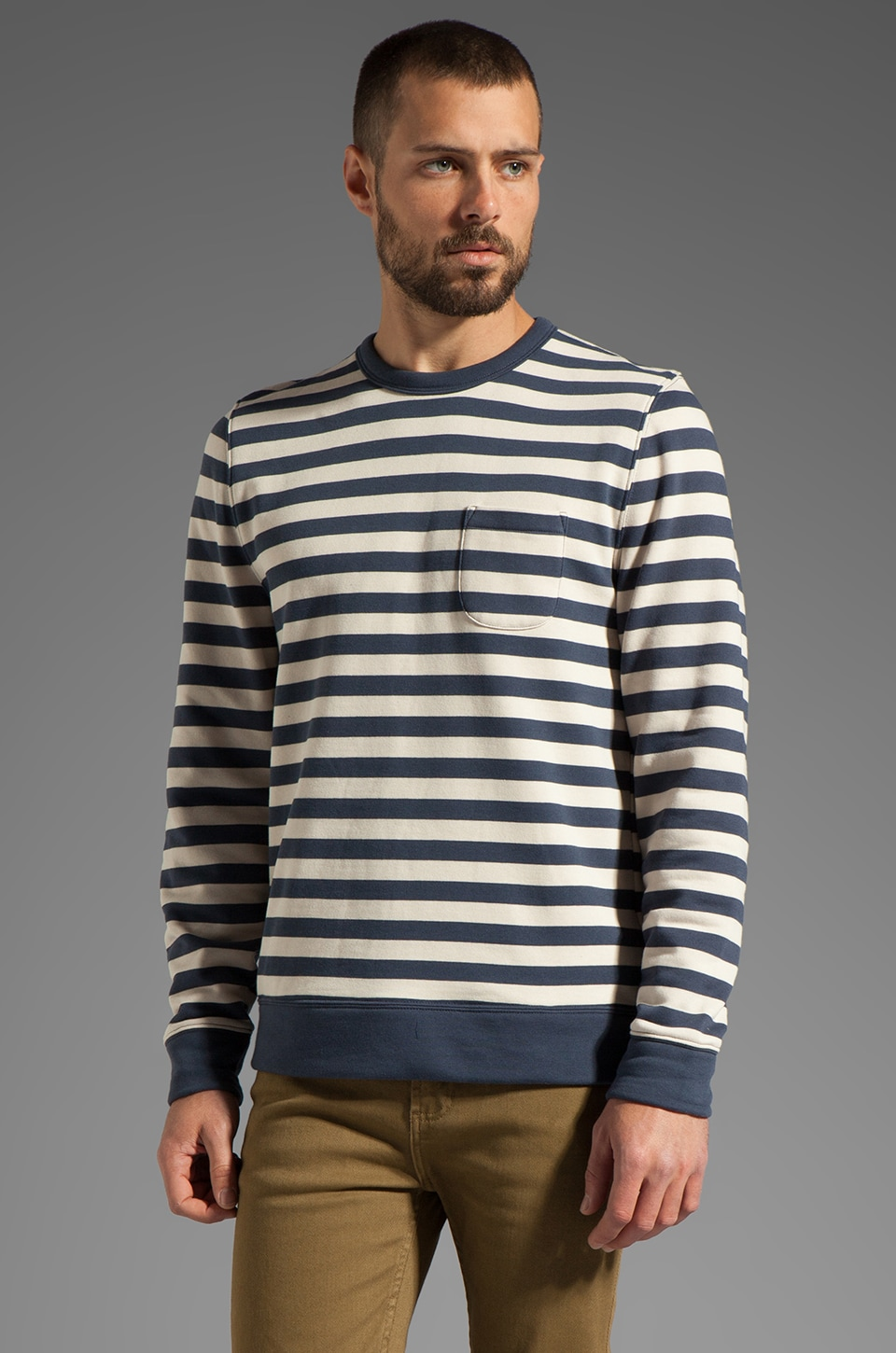 Obey Dano Crew Sweatshirt in Fog/Mood Indigo