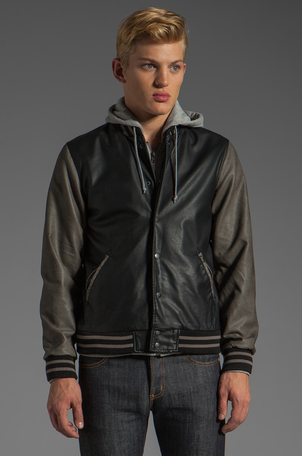 Obey Varsity Hooded Leather Jacket in Black/Grey