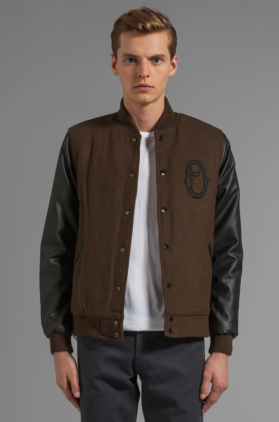 Obey The O Varsity Jacket with Faux Leather Sleeve in Army