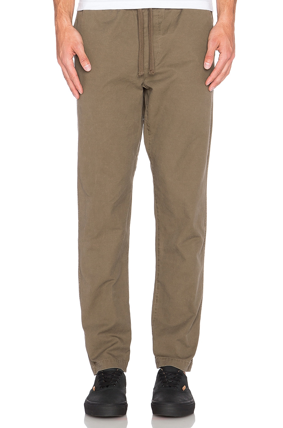 Obey Travelers Slub Twill Pant in Olive Brown | REVOLVE