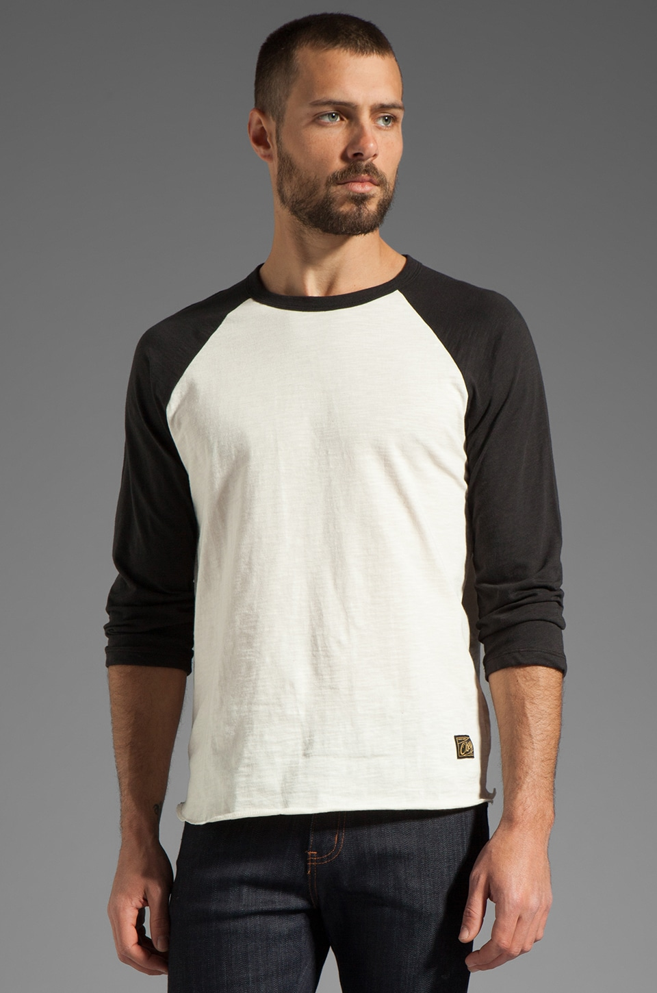 Obey Old Timey Slub Raglan in Natural/Jet Black