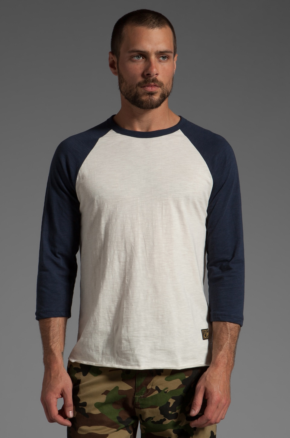 Obey Old Timey Slub Raglan in Natural/Mood Indigo