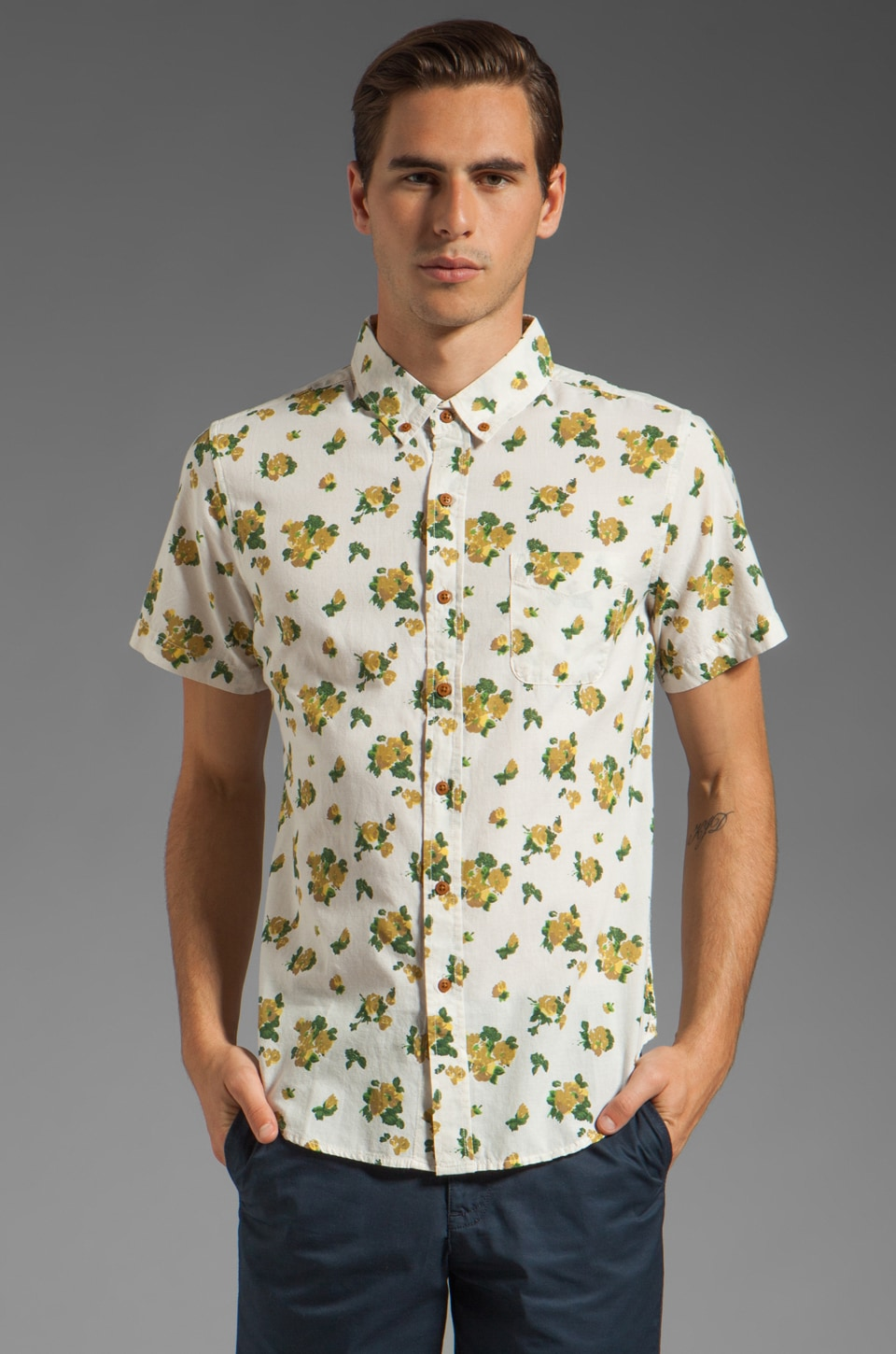 Obey Low End Short Sleeve Shirt in Oatmeal