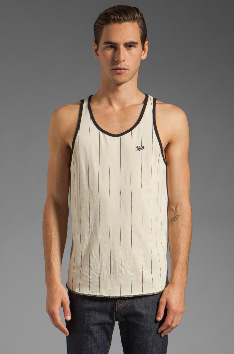 Obey Outfield Tank in Fog/Black Coffee
