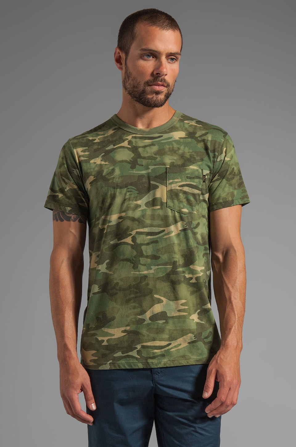 Obey Thrashed Tee in Bleached Camo