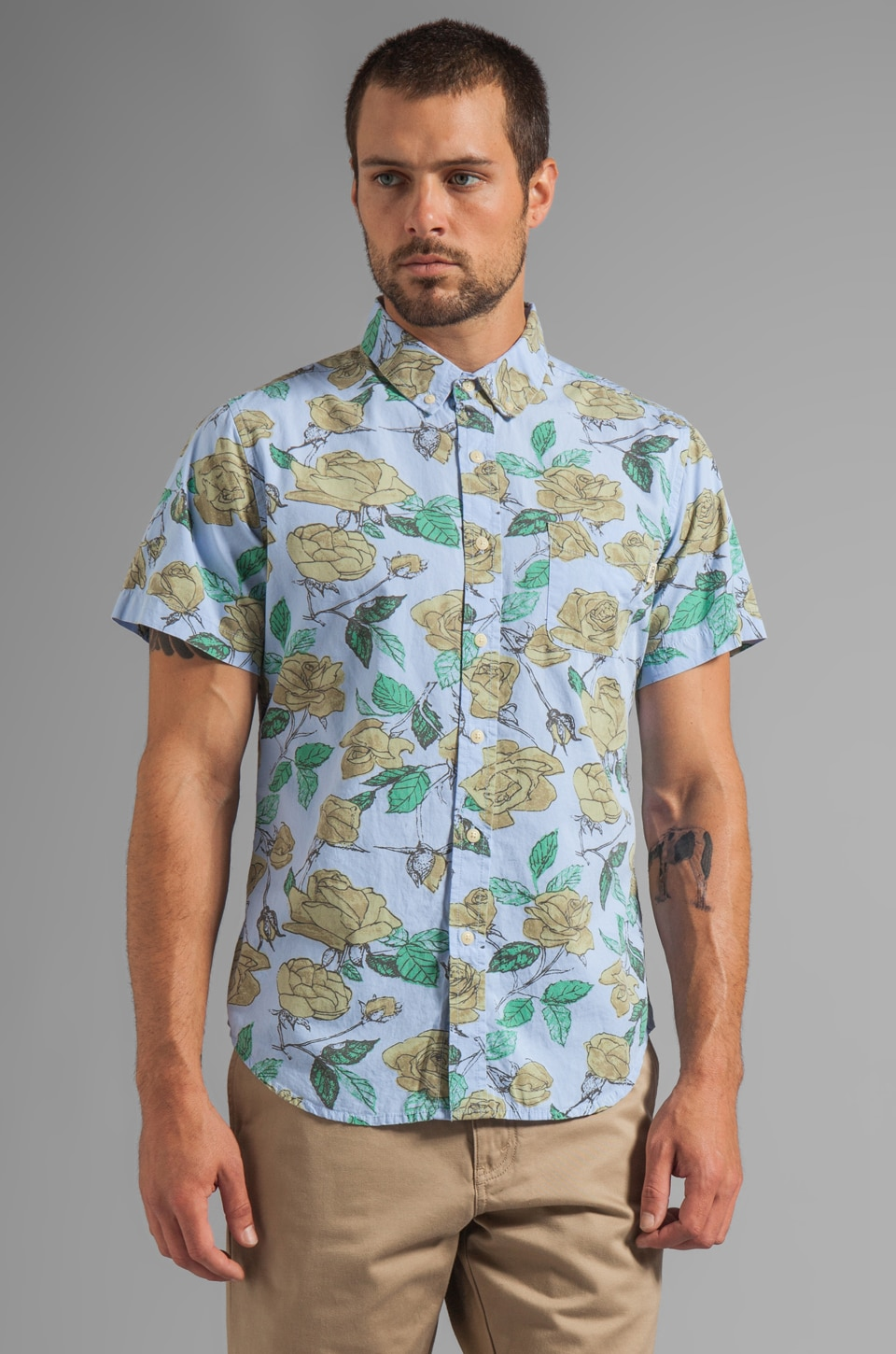 Obey Wasted S/S Shirt in Light Blue
