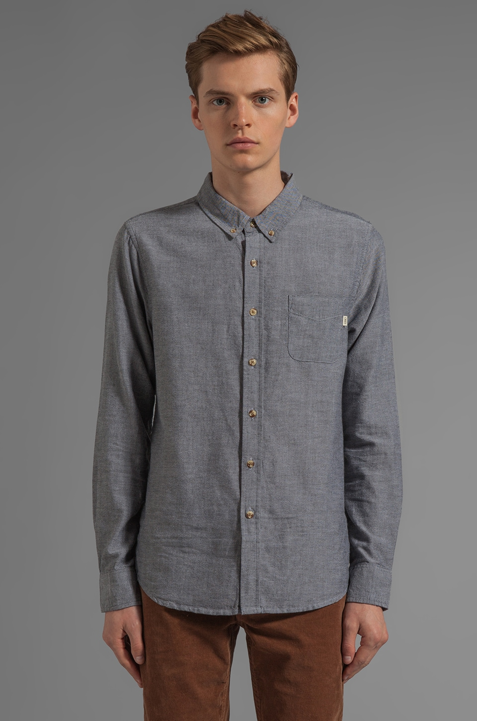 Obey End on End Oxford L/S Shirt in Black