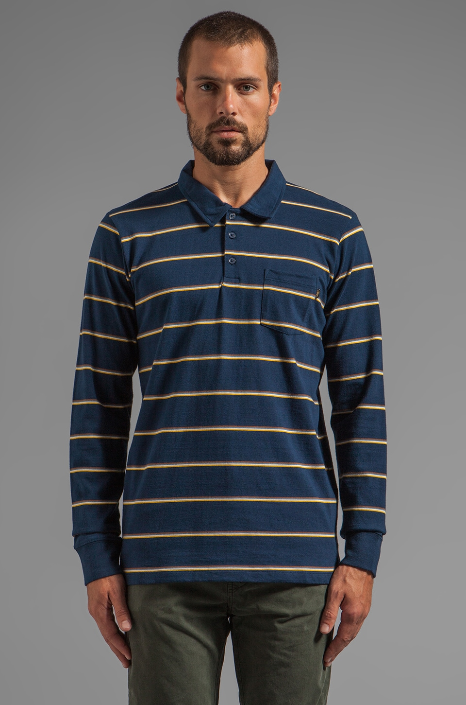 Obey Hyde Street L/S Striped Polo en Marine