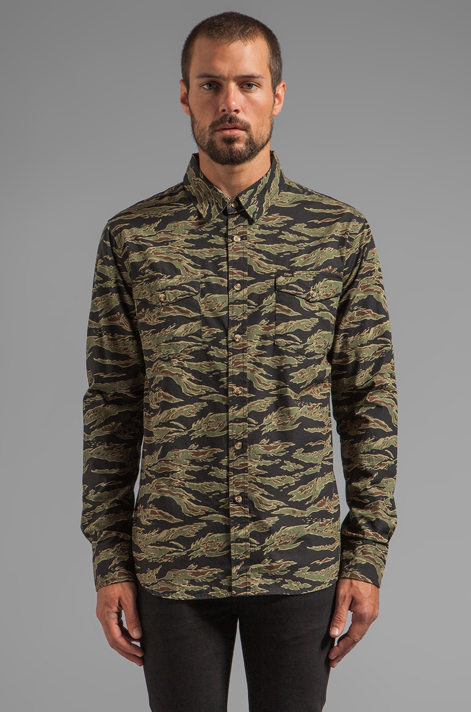 Obey Field Assassin Flannel Button Down in Tiger Camo