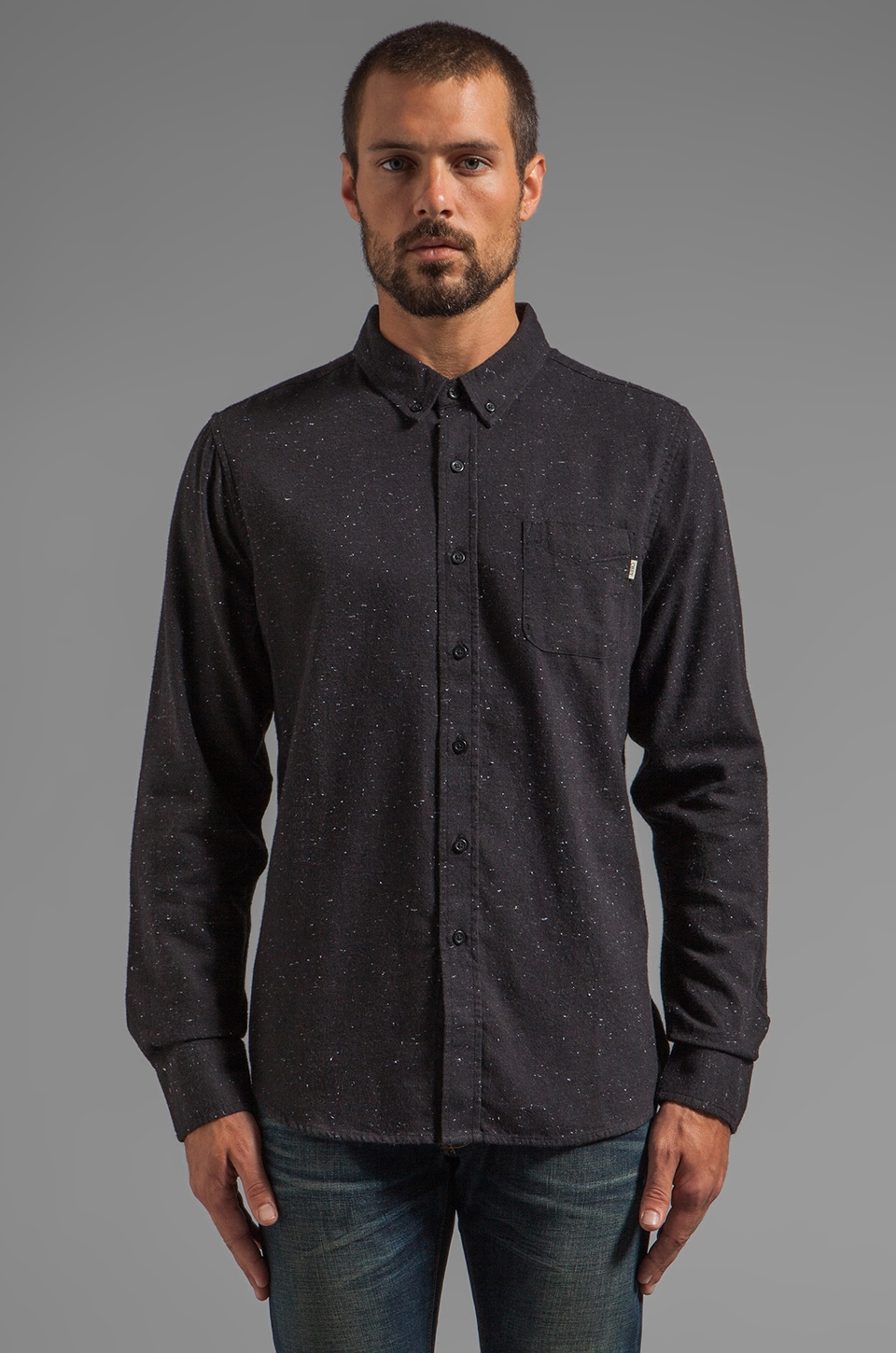 Obey Last Call Flannel Button Down with Speckles in Black