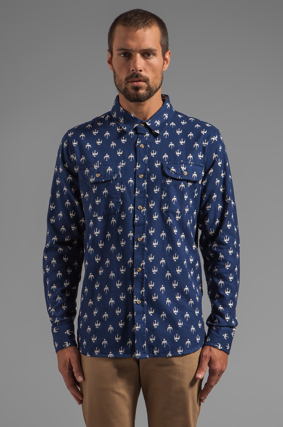Obey Early Bird Flannel Button Down with Bird Print in Indigo