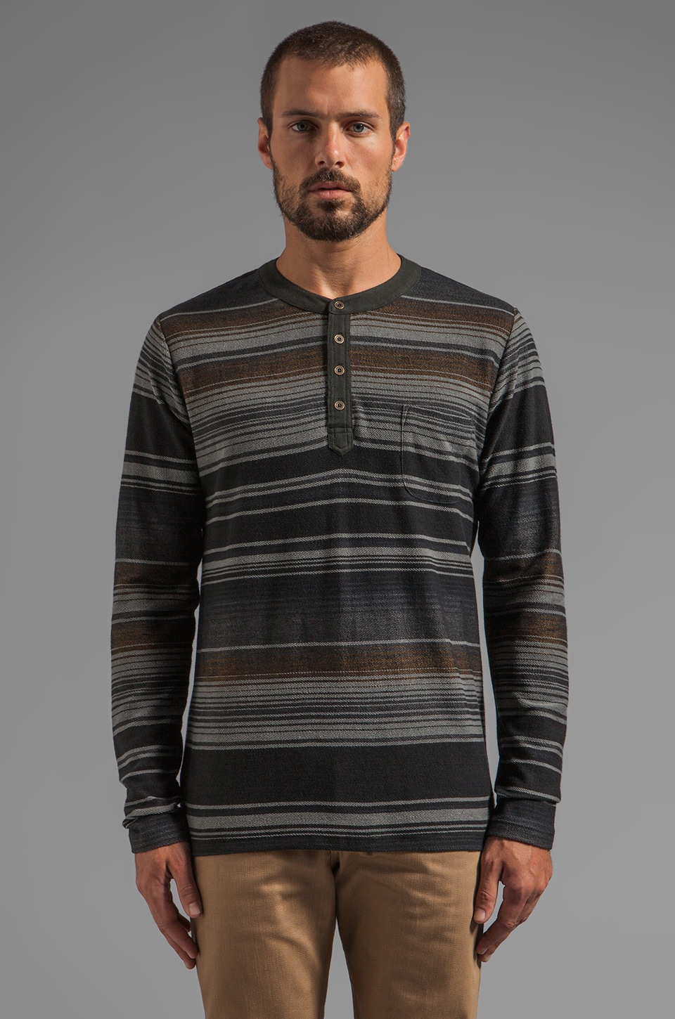 Obey Tulum L/S Striped Henley in Heather Grey