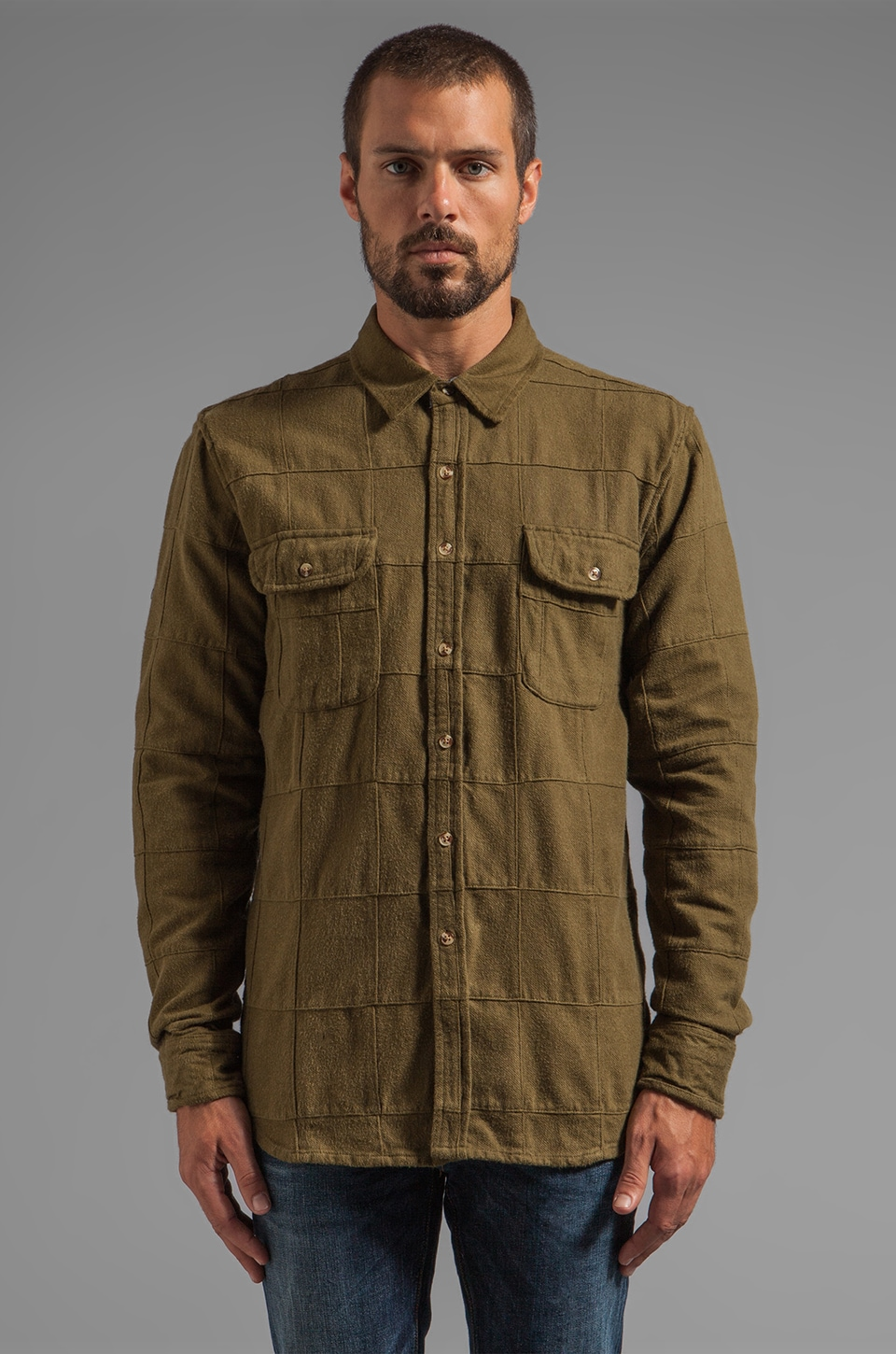 Obey Rowland L/S Flannel Shirt in Dark Olive