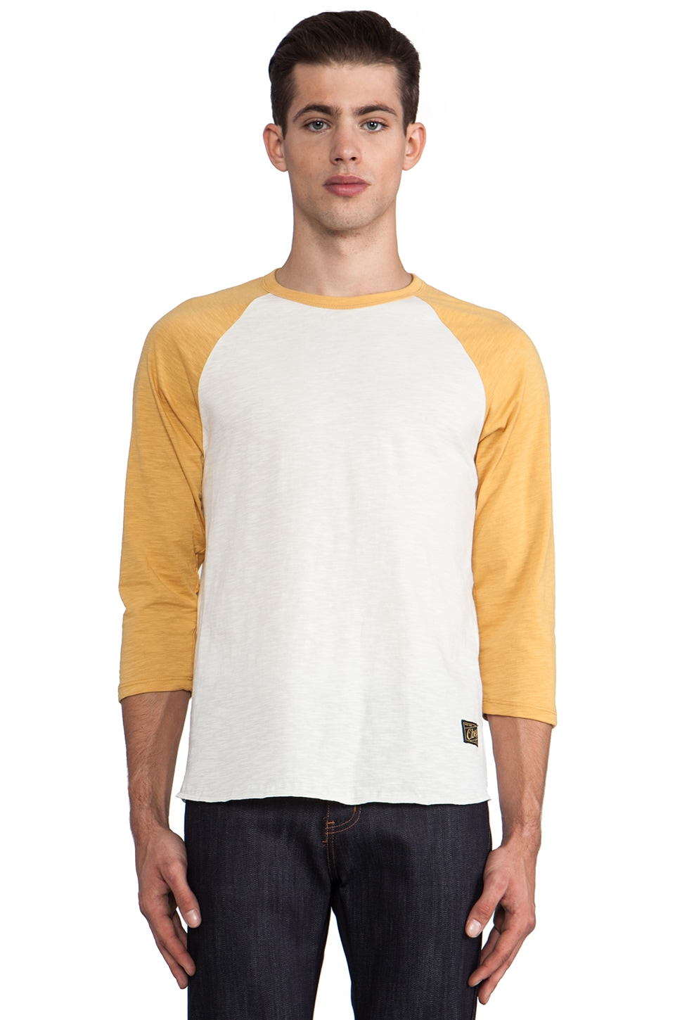 Obey Old Timey Slub Raglan in Natural/Honey Gold