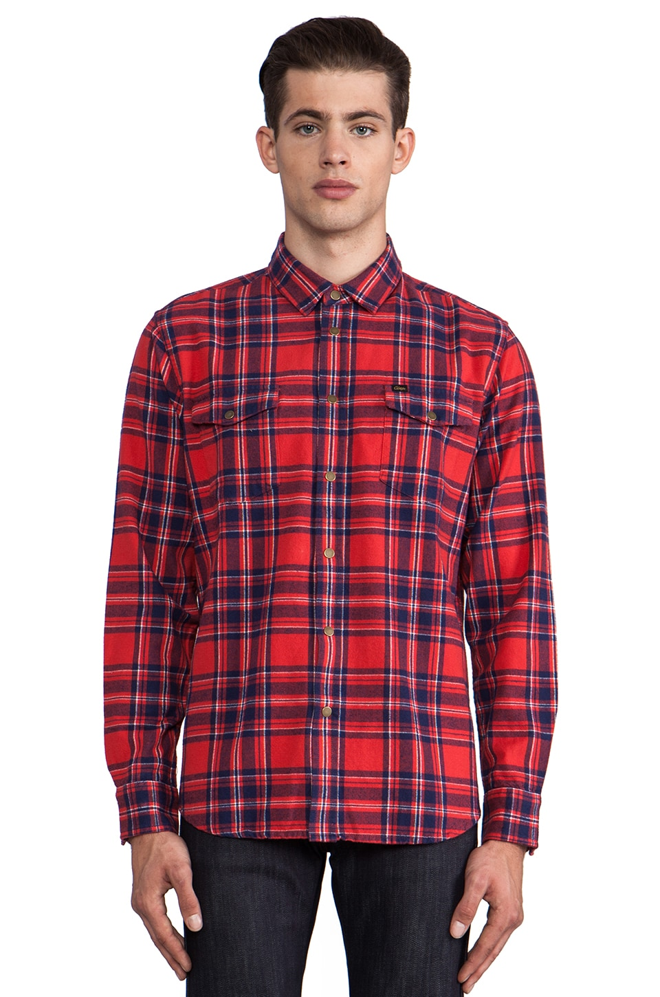 Obey Drifter Flannel Button Down in Red