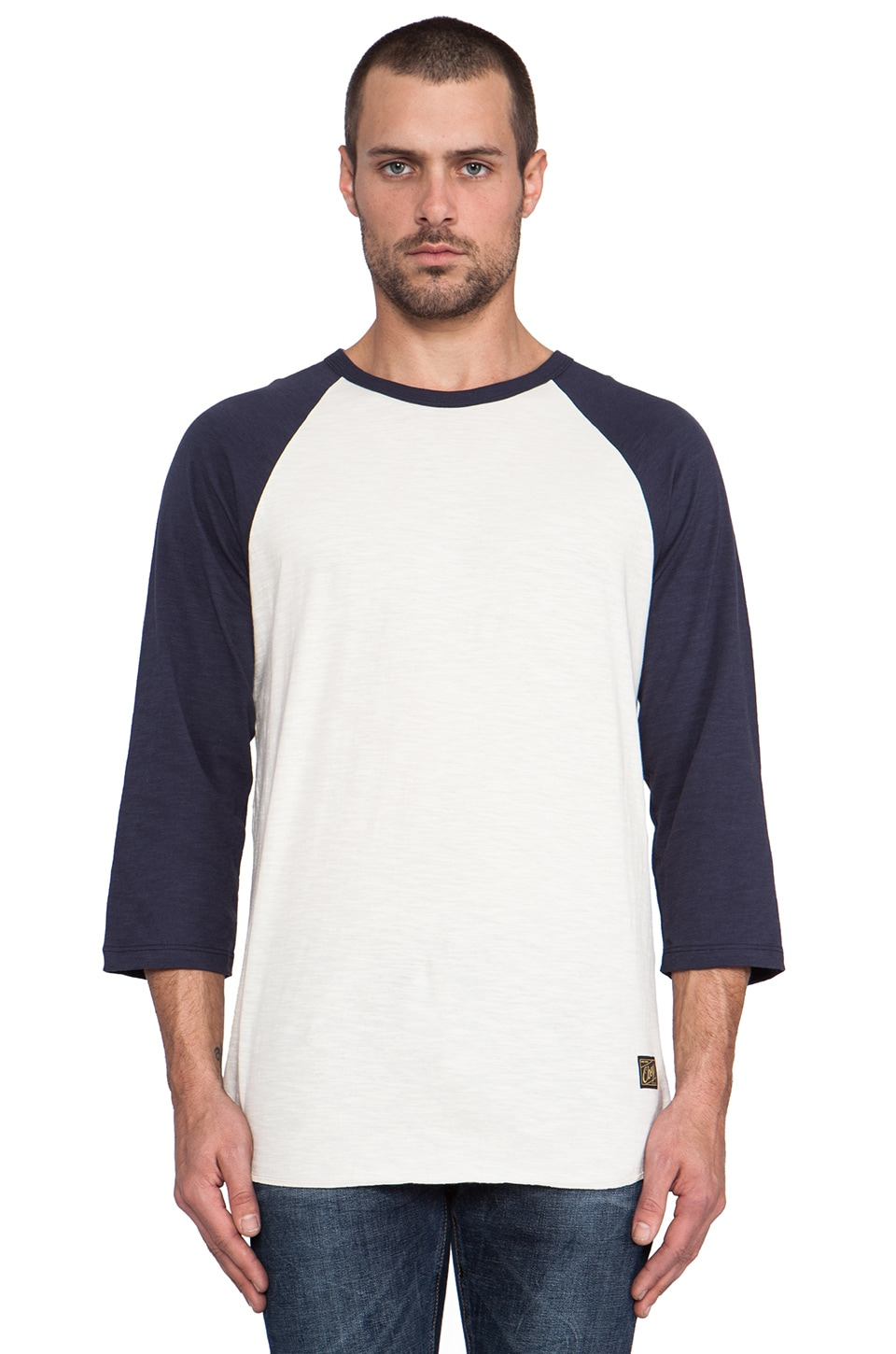 Obey Old Timey Slub Raglan in Natural & Mood Indigo