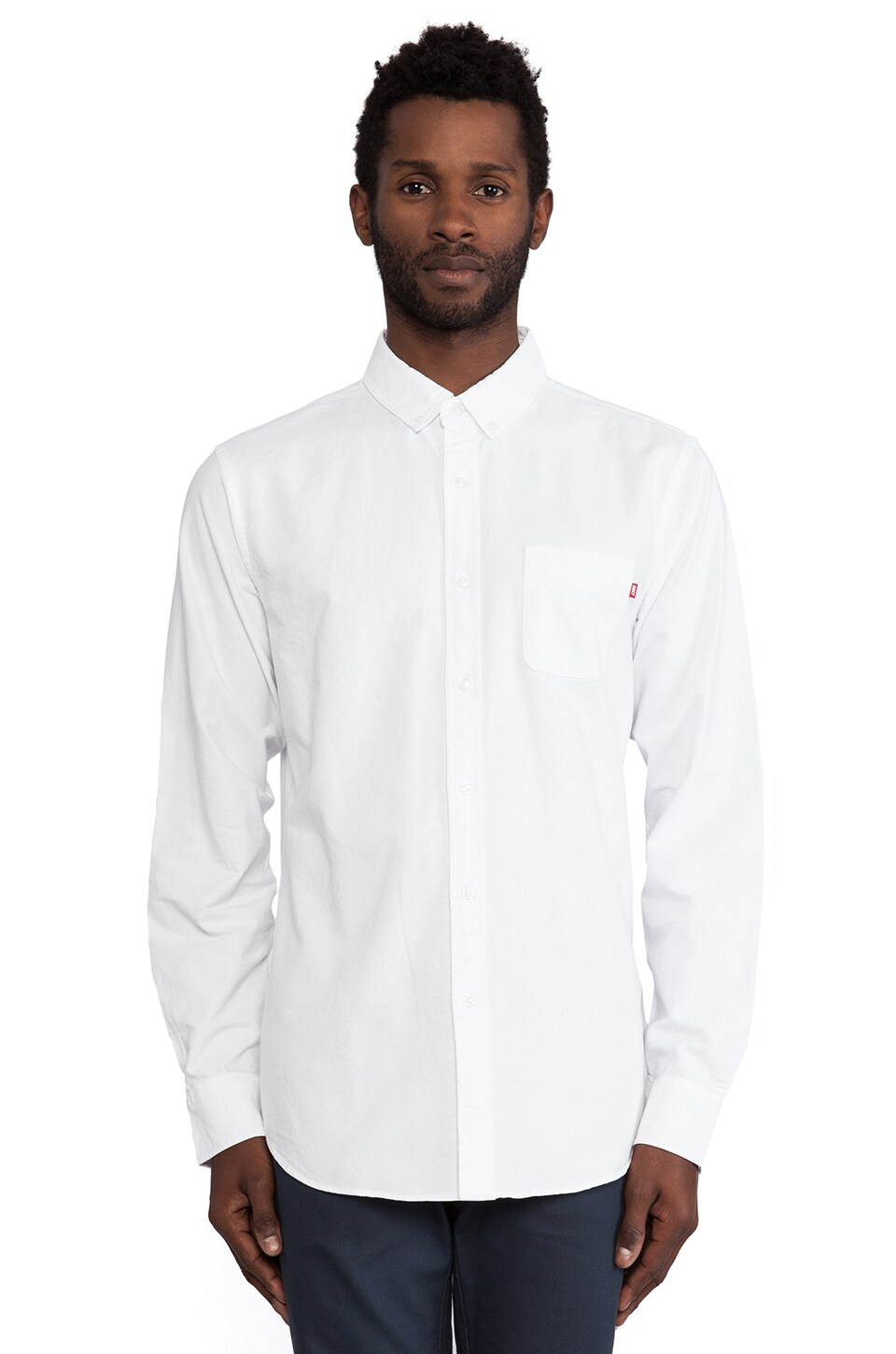 Obey Dissent Oxford Button Down in White