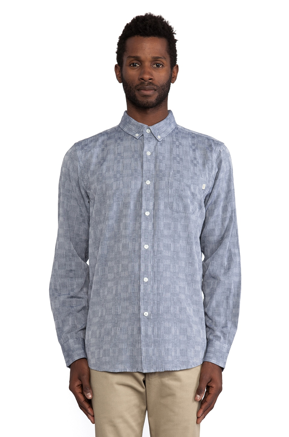 Obey Warwick Button Down in Indigo