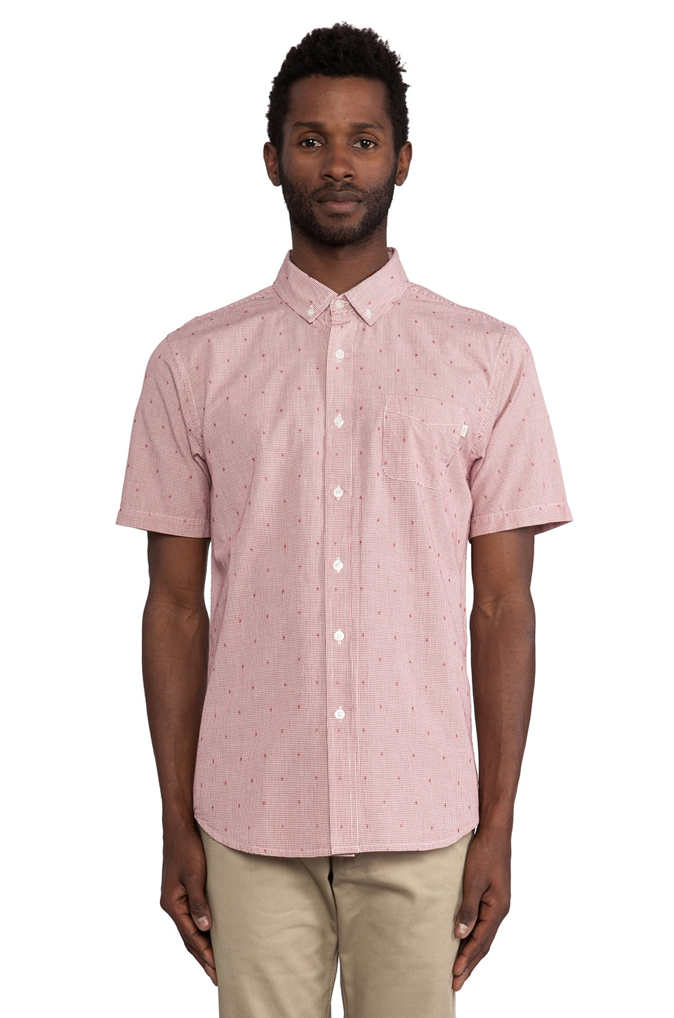 Obey Crossline Button Down in Red