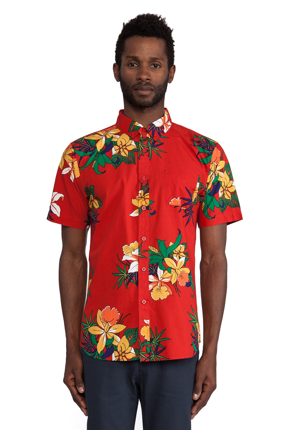 Obey Tourist Button Down in Red