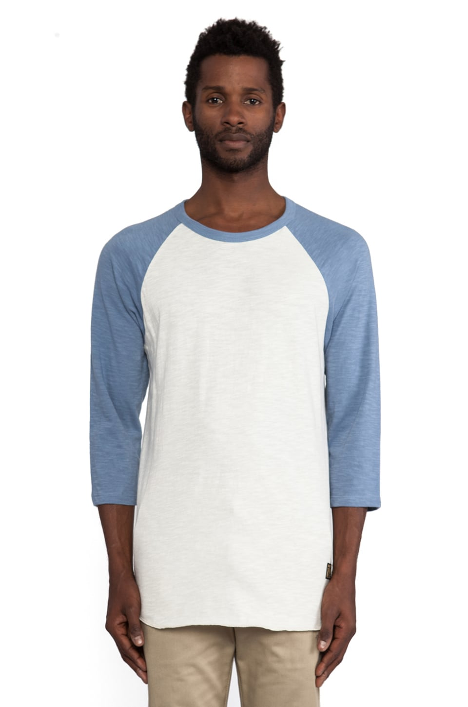 Obey Old Timey Slub Raglan in Natural & Mineral Blue