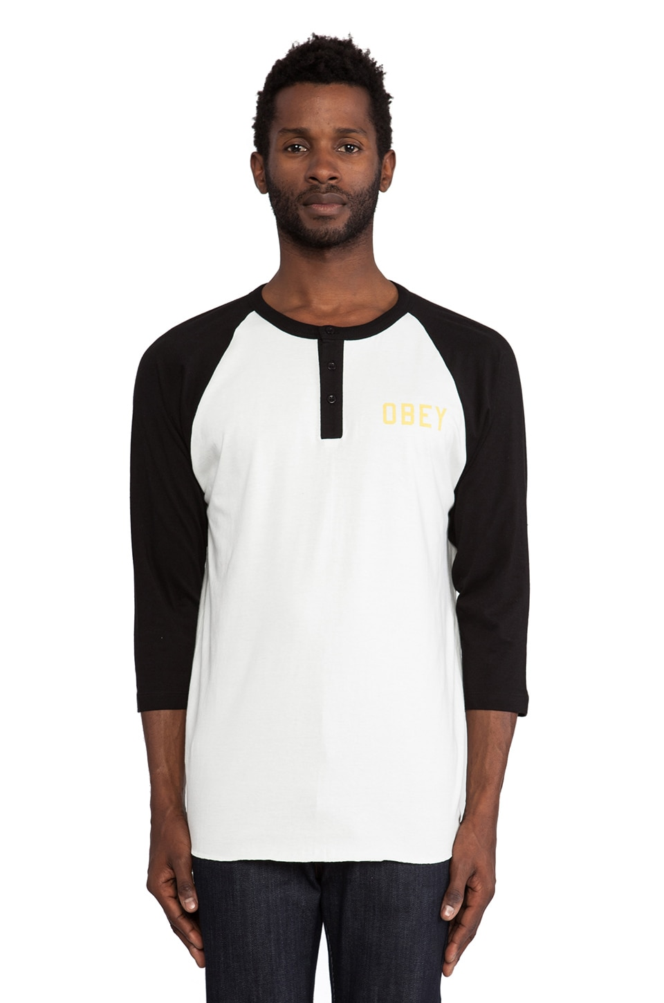 Obey Playoff Raglan in Natural & Black