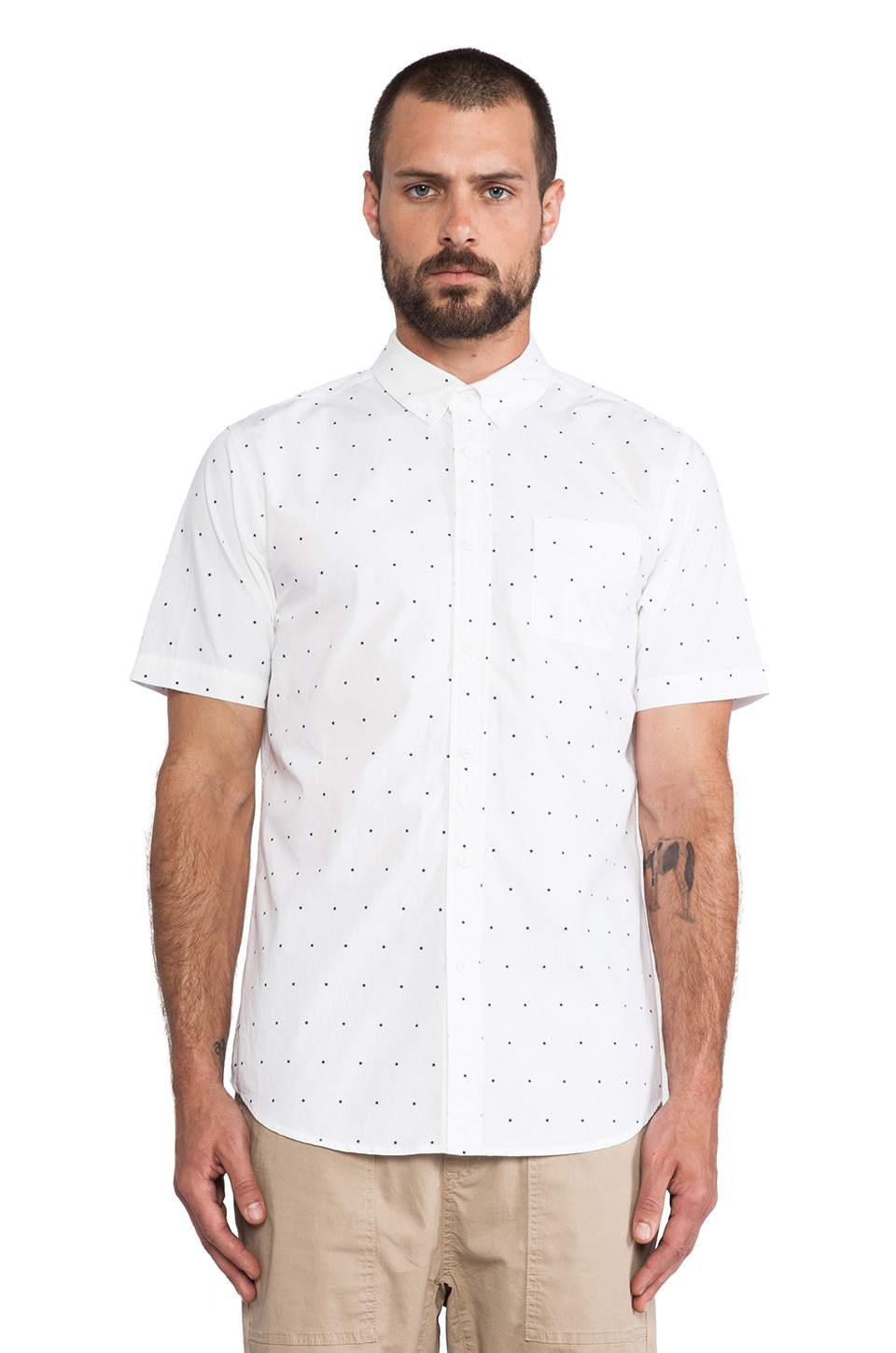 Obey Franklin Button Down in White