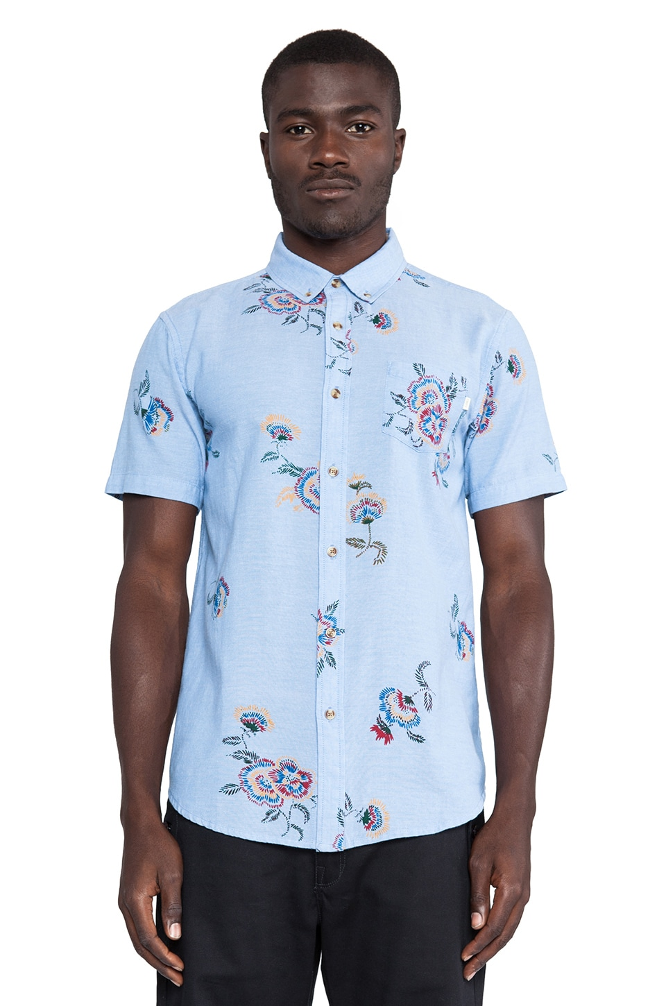 Obey Patton Button Up in Indigo